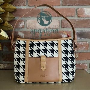 Spartina 449 Leather Houndstooth Bag Purse